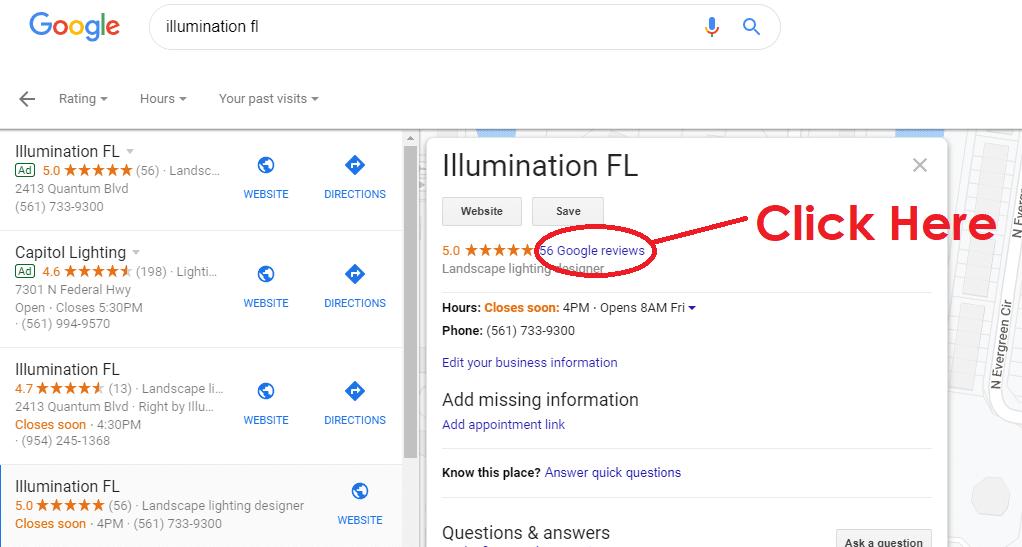 Google - Illumination FL - Landscape Lighting - Online Reviews